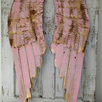 Angel wings wall hanging pink w/ gold wood and metal shabby cottage chic rusty distressed cherub wing set home decor anita spero design