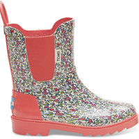 TOMS Pink Rubber Ditsy Youth Rain Boots Pink