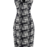 Printed Folded Collar Crepe Dress