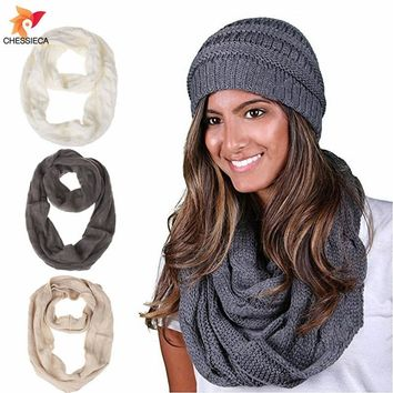 CHESSIECA New Brand Mixed Color Kintted Hats Good Quality Winter Lady Thick Warm Caps And Scarf Sets With Fur Balls Girls