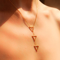 Gold Triangle Necklace - Tiny Triangle Necklace - 3 Triangles Necklace - Long Triangle Necklace -  Dainty Gold Necklace - Triangle Jewelry