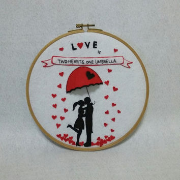 Love Wall decor, Love 3D Wall decor, Embroidery hoop art, Love 3D Hoop art, Valentines wall art, Valentines day Gift, Gift for her