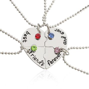 4 Pcs/Set Trendy Best Friend Broken Heart Pendant Necklace Inlaid Milti Rhinestone Alloy Necklace For Men Women Besr Friend Gift
