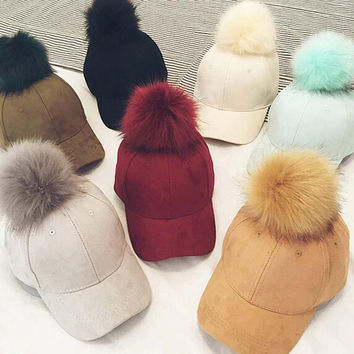 Korean Fashion Nagymaros Ball Suede Nap Women Cap Candy-Colored Baseball Caps New Style Spring Autumn Baseball Hat Hip-Hop Hat
