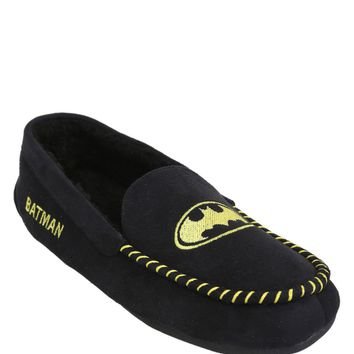Licensed cool DC  BATMAN MOCCASIN Adult plush Slippers Indoor/ Outdoor Shoes SMALL NEW