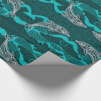 Bright Aqua Sealife with Dolphins and Waves Wrapping Paper