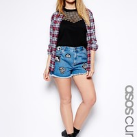 ASOS CURVE Denim Short With 90s' Badge - Blue