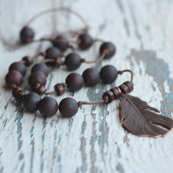 feather necklace men gift boyfriend long mens jewelry tribal necklace boho women necklace indian brown necklace gemstone folk jewelry ethnic