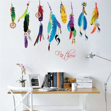 Flying Dream Catcher Feathers Home Decor Wall Sticker