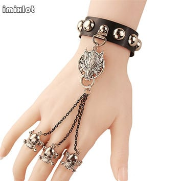 imixlot Unisex Cool Punk Rock Gothic Skeleton Skull Hand Glove Chain Link Wristband Bangle Leather Bracelet
