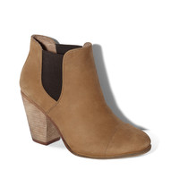 Hame designer bootie shoe by Vince Camuto. Cute, comfortable & practical black, western-style suede ankle bootie with wood high heel for women & girls. HAME