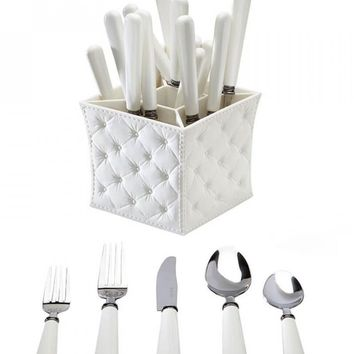 Provence White Flatware Set with Caddy