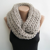 Chunky loop scarf oat meal crochet infinity by sascarves on Etsy