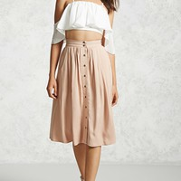 Contemporary Button Front Skirt