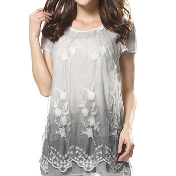 Simply Couture Gray Floral Lace Tunic | zulily