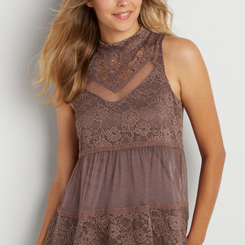 lace and embroidered mesh high neck tank | maurices