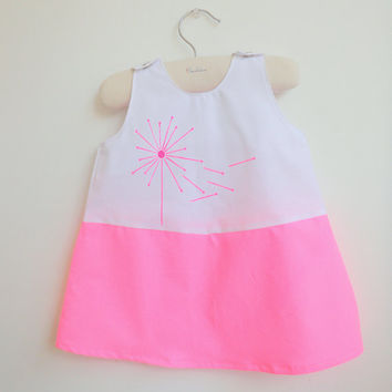 French Dandelion White and Neon Pink Dress by chocolatineboutique