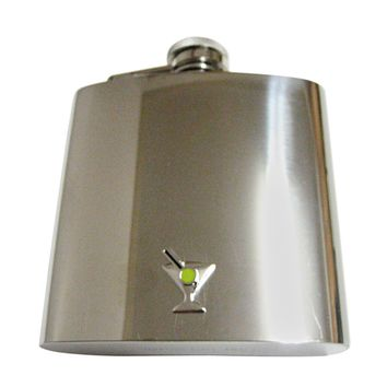 Silver Toned Detailed Martini Glass 6 Oz. Stainless Steel Flask