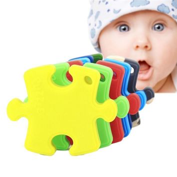 Jigsaw Puzzle Shaped Food Grade Silicone Teething Toy