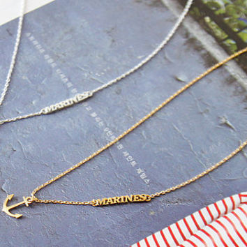 Marine Necklace, Anchor Necklace, Korean Jewelry, Cute Necklace, Womens Necklace, Girls Gift