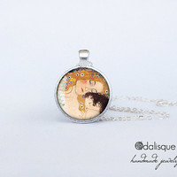 Handmade Mother and Child Pendant Gustav Klimt Silver Pendant gift present jewelry birthday for her round circle