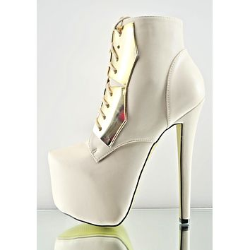 """Nelly 20 Cream Leatherette Gold Shield Platform 6.5"""" Stiletto Ankle Boot Size 7"""