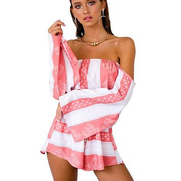 Sexy Off Shoulder Flare Sleeve Striped Playsuits Women Backless Beach Party Loose Jumpsuits Rompers