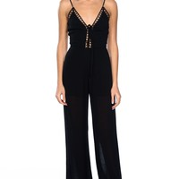 Lattice plunge cage jumpsuit