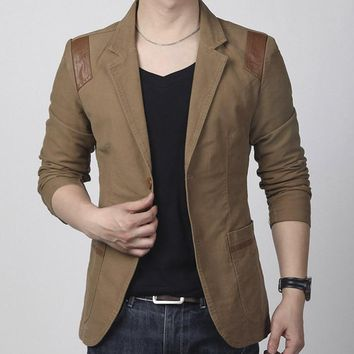 Hot! New Fashion Spring and men's clothing Casual Slim Fit Blazer Leather Patchwork Plus Size Suits Jacket Men Outwear
