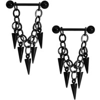 Handcrafted Black Spike Chain Dangle Nipple Ring Set