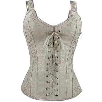 Sexy Women   Front Strap Bodyshaper Steel Boned Lace Up Vest Embroidery Gothic Clothing Waist Corset 2 Colors