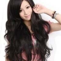 Cool2day® Sexy Women's Long Wavy Hair Party Wig+wig Cap (Model: JF010577) (Black)