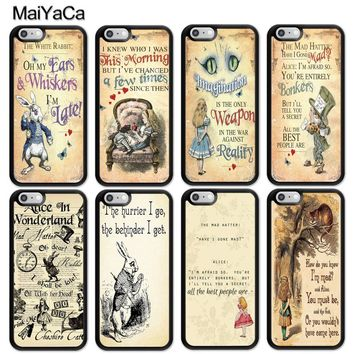 MaiYaCa Alice in Wonderland Quotes Printed Mobile Phone Cases Accessories For iPhone 6 6S 7 8 Plus X 5 5S SE Soft TPU Back Cover