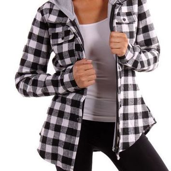 TPT148 Hooded Flannel Plaid Shirt (More color options)