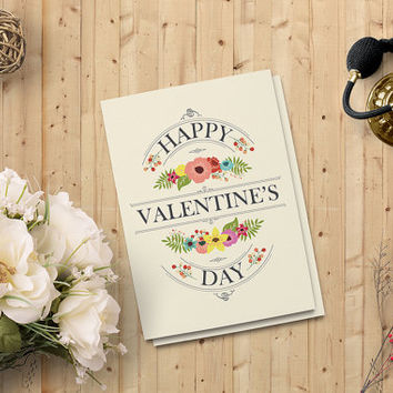"Valentine's Day Card - Printable Instant download Card - Lover's Day Greeting Card - 5""x7"" Digital Downloadable Card - on SALE 50%"