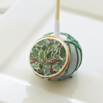 Holly Berry Holiday Cake Pops