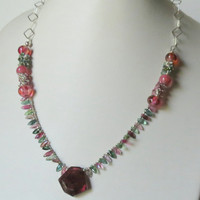 Jewelry, Handmade Necklace, Shades of Tourmaline, Sterling Silver, Pink Tourmaline Focal, Statteam