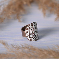 Copper handmade ring trident gift author's enameled jewelry beautiful adornment