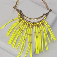 Yellow Leather Fringe Necklace-$45.00 | Hand In Pocket Boutique