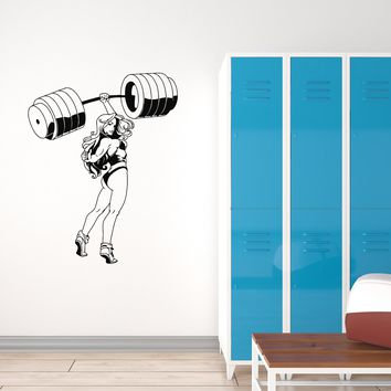 Vinyl Wall Decal Fitness Girl Sports Woman Gym Decoration Bodybuilding Stickers Mural (ig5617)