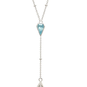 Geo-Gem Y-Necklace - Silver