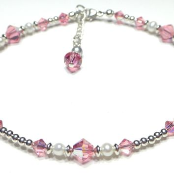 Handmade Sterling Silver Crystal Ankle Bracelet  -  Birthmonth  Pale Pink Tourmaline October