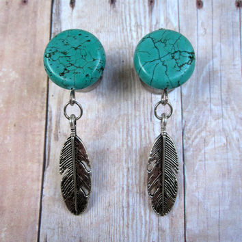 "Pair of Turquoise Plugs w/ Feather Charms - 2g,0g,00g,7/16"",1/2"",9/16"",5/8"",3/4"",7/8"",1"" (6mm,8mm,10mm,11mm,12mm,14mm,16mm,19mm,22mm,25mm)"