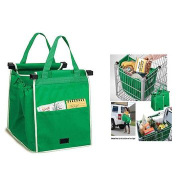 Reusable Shopping Cart Bags for Grocery Shopping in Supermarket Foldable Shopping Bags, Green -DROPSHIP