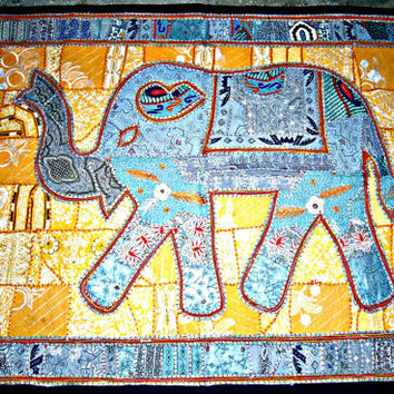 elephant wall art tapestry, Indian wall hanging, elephant wall hanging elephant wall decor indian home decor indian table runner table cloth