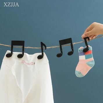 XZJJA 2PC/SET Musical Notation Clothes Pegs Socks Bed Sheet Wind-Proof Pins Clips Household Clothespins Arts Photo Paper Clamp