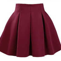 Women Cotton Vintage Stretch High Waist Plain Skater Flared Pleated Wine Red Mini Skirt Dress