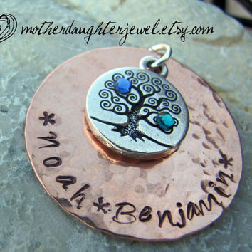 Hand Stamped Jewelry - Personalized Mommy Necklace - Heirloom Family Tree,  Copper Hand Stamped necklace with Birthstones