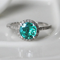 Halo Round Cut 6.5mm Emerald 14k White Gold Pave Diamonds Ring/Engagement Ring/Wedding Ring