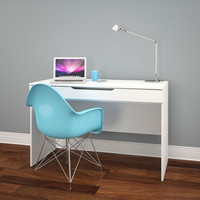 Nexera Arobas Desk with Pull-Out Storage Shelf - White